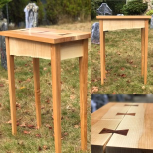 Maple live edge skirt entry table